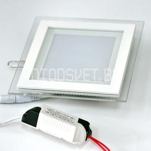 Стеклянная светодиодная панель 15Вт, 20x20см, холодный белый