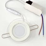 Стеклянная светодиодная панель 6Вт, ?10см, холодный белый