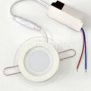 Стеклянная светодиодная панель 6Вт, Ø10см, холодный белый