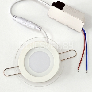 Стеклянная светодиодная панель 12Вт, Ø16см, холодный белый